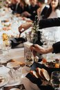 Wedding reception. Table setting in restaurant Royalty Free Stock Photo