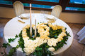 Wedding reception tables decorated for a party or Stock Photography