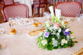Wedding reception tables decorated for a party or Royalty Free Stock Photography