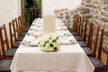 Wedding reception tables decorated for a party or Stock Photo