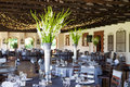Wedding reception venue with decorated tables and fairy lights in background selective focus Stock Photos