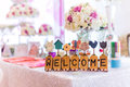 Wedding reception a welcome sign at a Royalty Free Stock Photos