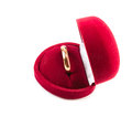 Wedding ring in a red box velvet Stock Images