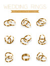 Wedding rings champagne gold flat style compose design