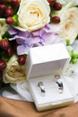 Wedding rings with flowers in box Royalty Free Stock Photo