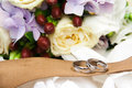 Wedding rings with flowers in box Stock Photography