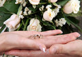 Wedding rings in hand Royalty Free Stock Photography