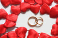 Wedding rings in hearts environment Royalty Free Stock Photography