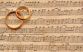 Wedding rings on music Royalty Free Stock Photo