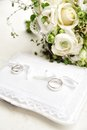 Wedding Rings on a Pad Stock Photography