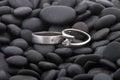 Wedding rings on pebbles Royalty Free Stock Photo