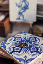 Wedding rings on Portuguese traditional ceramic tiles Azulejo