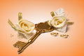 Wedding rings and rose over orange background Royalty Free Stock Photo