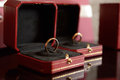 Wedding rings stock photo bride and groom in luxury red boxes Royalty Free Stock Image