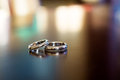 Wedding rings on the table Royalty Free Stock Images