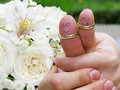 Wedding rings on their fingers people marrieds bride and groom, painted funny little men