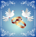 Wedding rings and two doves Royalty Free Stock Photo