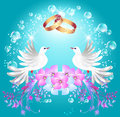 Wedding rings and two doves Royalty Free Stock Photos