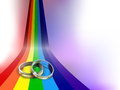 Wedding rings vector on rainbow path eps file gradient mesh and transparency used Royalty Free Stock Photos
