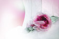 Wedding romantic background sweet rose ornament on white bride dress Royalty Free Stock Photography