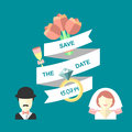 Wedding romantic invitation card with ribbon, flowers, ring, bride and groom in flat style. Save the Date text in vector