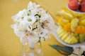 Wedding rose orchid bouquet yellow background Stock Photos