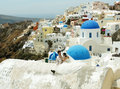 Wedding in santorini and landscape with church on island greece Royalty Free Stock Image