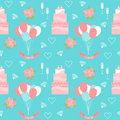 Wedding seamless pattern background with cakes and soft cartoon romantic decorative elements Royalty Free Stock Photo