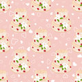 Wedding seamless pattern cake with cream red roses and white lilies vector pink two hearts on top element for your Stock Photos