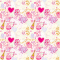 Wedding seamless pattern illustration with hearts and birds flowers Royalty Free Stock Image