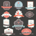 Wedding set with bright ribbons labels frames hearts rings and bows Royalty Free Stock Images
