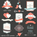 Wedding set with cute birds frames hearts and ribbons Stock Images
