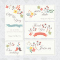 Wedding set with cute birds hearts ribbons and flowers in cartoon style Stock Photo