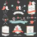 Wedding set with cute birds hearts ribbons and flowers in cartoon style on dark background Stock Image