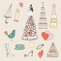 Wedding set of cute hand drawn icons doodle icon sketchy illustration Stock Images