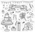 Wedding set, doodle. Hand drawn style.Hearts, flowers, ribbons, birds, words, cake, gifts, rings, invitation.