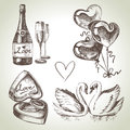 Wedding set hand drawn illustration Stock Images