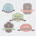 Wedding set with invitation labels with ribbons in retro style Stock Photography