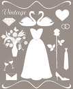 Wedding set isolated objects vector illustration eps Stock Images