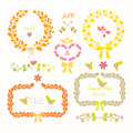 Wedding set laurel wreaths arrows hearts and flowers romantic in retro style Stock Photos
