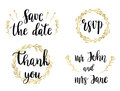Wedding Set of lettering quotes and phrases. Vector illustration of black text in golden wreaths.