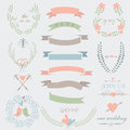Wedding set romantic with tender flowers laurels ribbons hearts birds arrows and calligraphic elements Royalty Free Stock Photo