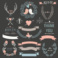 Wedding set romantic with tender flowers laurels ribbons hearts birds arrows and calligrphic elements Royalty Free Stock Images