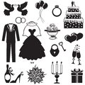 Wedding set of silhouette images of romantic Stock Photo