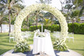 Wedding set up in garden inside beach beautiful Royalty Free Stock Images