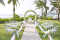 Wedding set up in garden inside beach beautiful Stock Photos