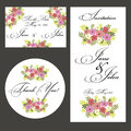 Wedding set vector bright of cards Royalty Free Stock Photo