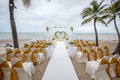 Wedding setup detail on the beach Royalty Free Stock Image