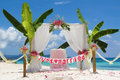 Wedding setup and flowers on tropical beach background beautiful Stock Photography