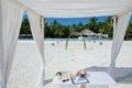 Wedding setup at maldives beach Royalty Free Stock Images